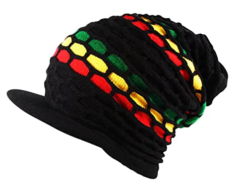 f0da5ca5ad5 Itzu Rasta Slouch Oversized Knitted Beanie Cap Hat with Peak Black Red  Yellow Green (Mosaic)  Amazon.co.uk  Clothing