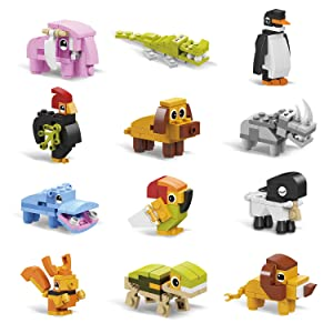 IAMGlobal 12 in 1 Mini Building Blocks Animals, Assorted Toy Animal, Building Blocks Stem Toys, Party Favor for Kids, Goodie Bags, Birthday, Carnival Prizes