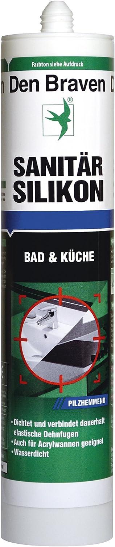 Silicona sanitaria Den Braven, 300 ml, inhibidor de hongos, impermeable, de alta elasticidad, Hecho en Alemania, transparente