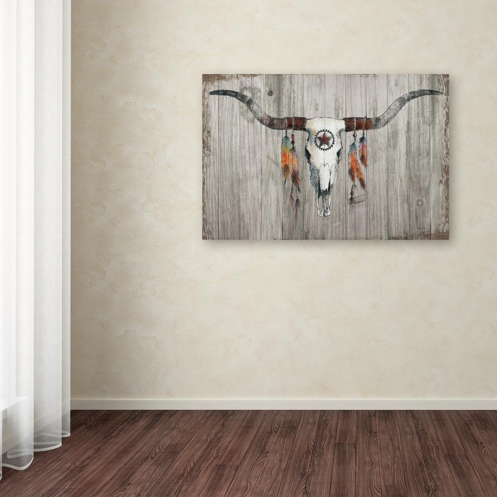 Longhorn on Dark Gray Wood by Avery Tillmon, 30x47-Inch Canvas Wall Art by Trademark Fine Art (Image #3)