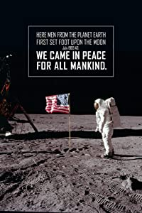 We Came in Peace for All Mankind Astronaut with Flag on The Moon Landing Cool Wall Decor Art Print Poster 24x36