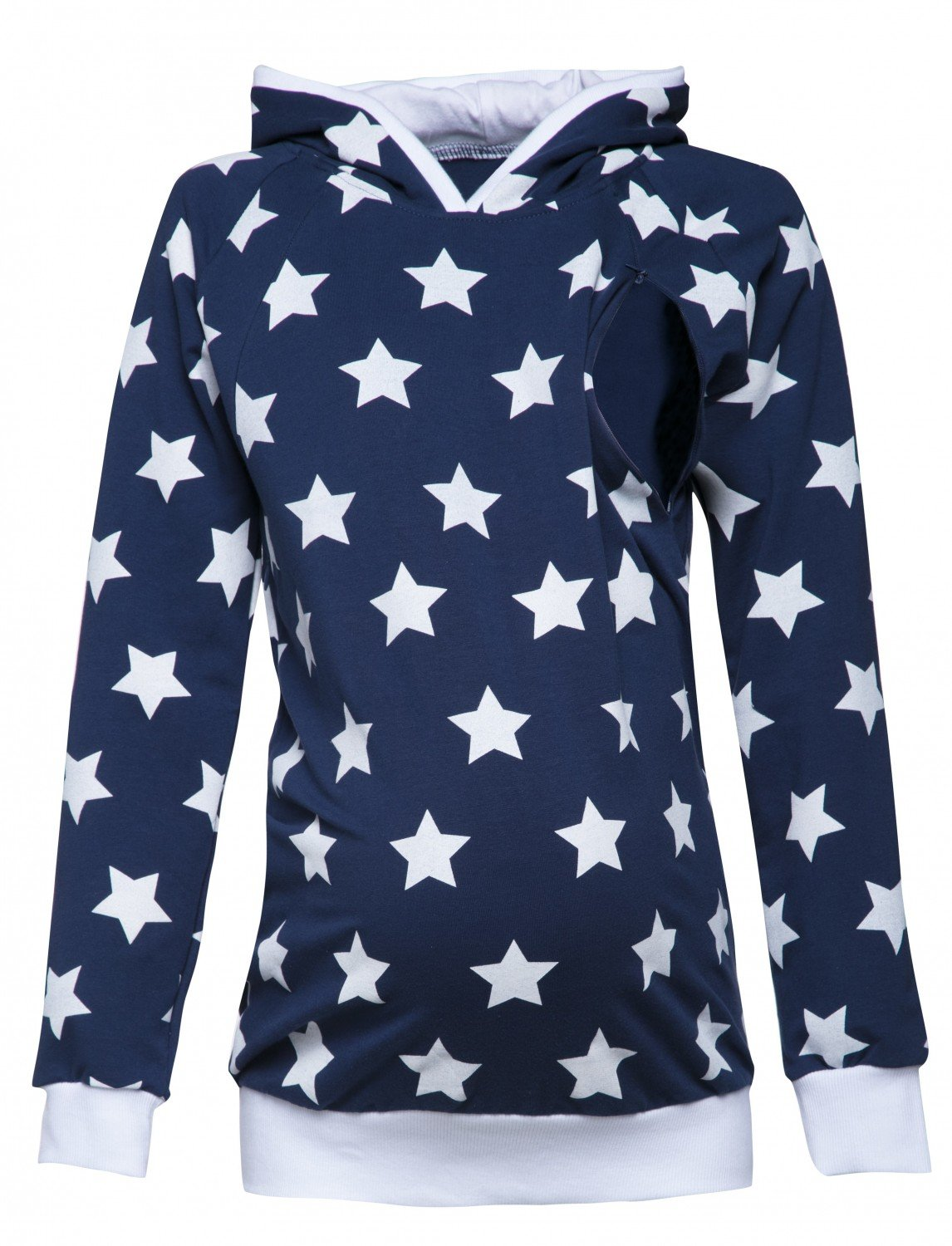 Happy Mama. Women's Maternity Nursing Hoodie Breastfeeding Stars Design. 710p nursingtop_710