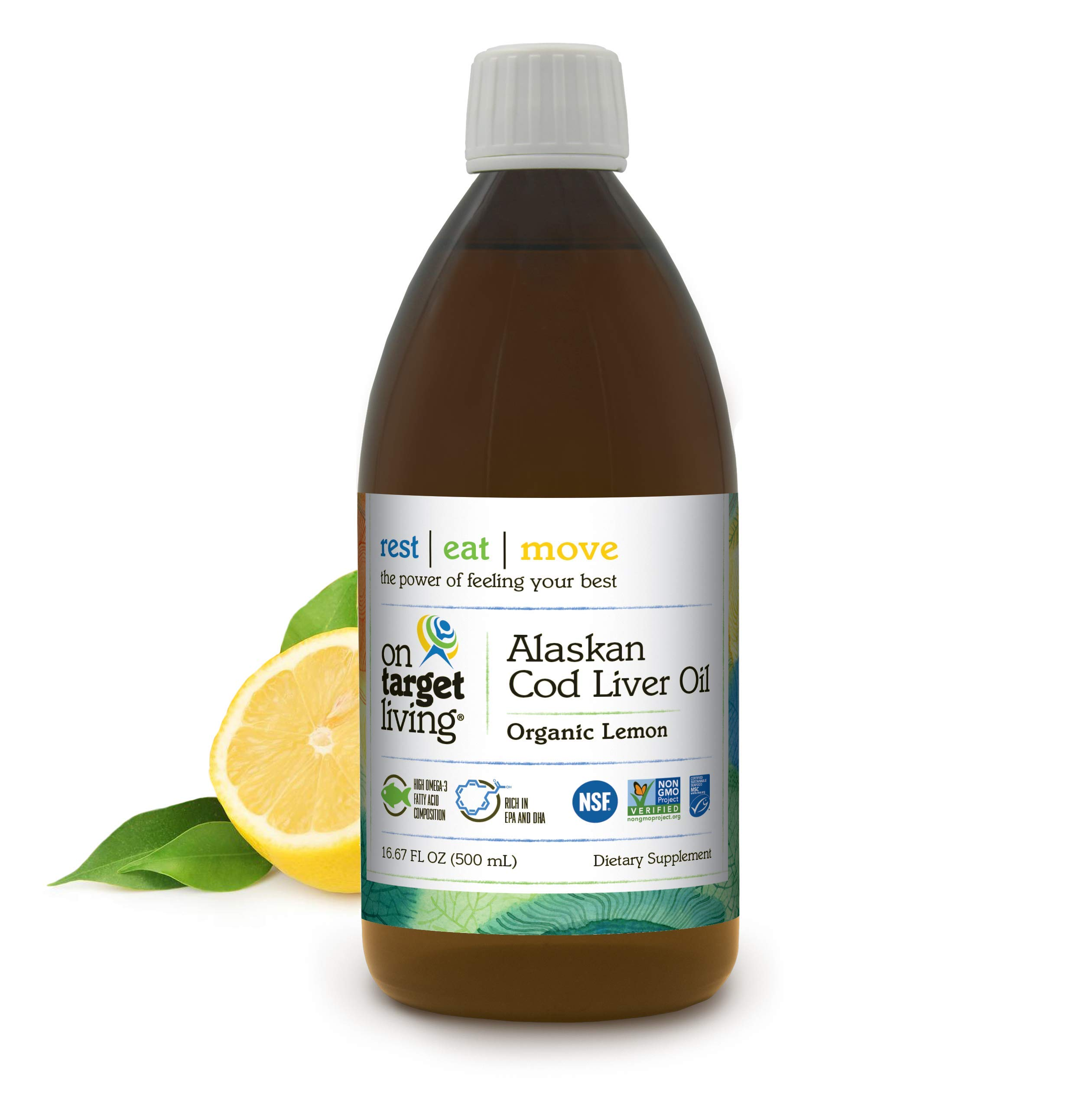 On Target Living Alaskan Cod Liver Oil Organic Lemon Flavor 16.67 oz | Made in The USA | Naturally Occurring Vitamin D | Rich in Omega 3 DHA/EPA | Non-GMO Project Certified |