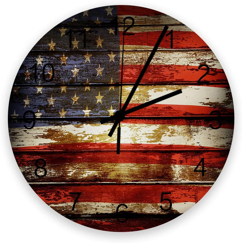 YESOF66 12 inch Round Wooden Wall Clock, Stylish Silent Non-Ticking Battery Operated Clock, American Flag Old Barn Wood Board Pattern Wall Decor for The Kitchen, Living Room, Bedroom, or Office