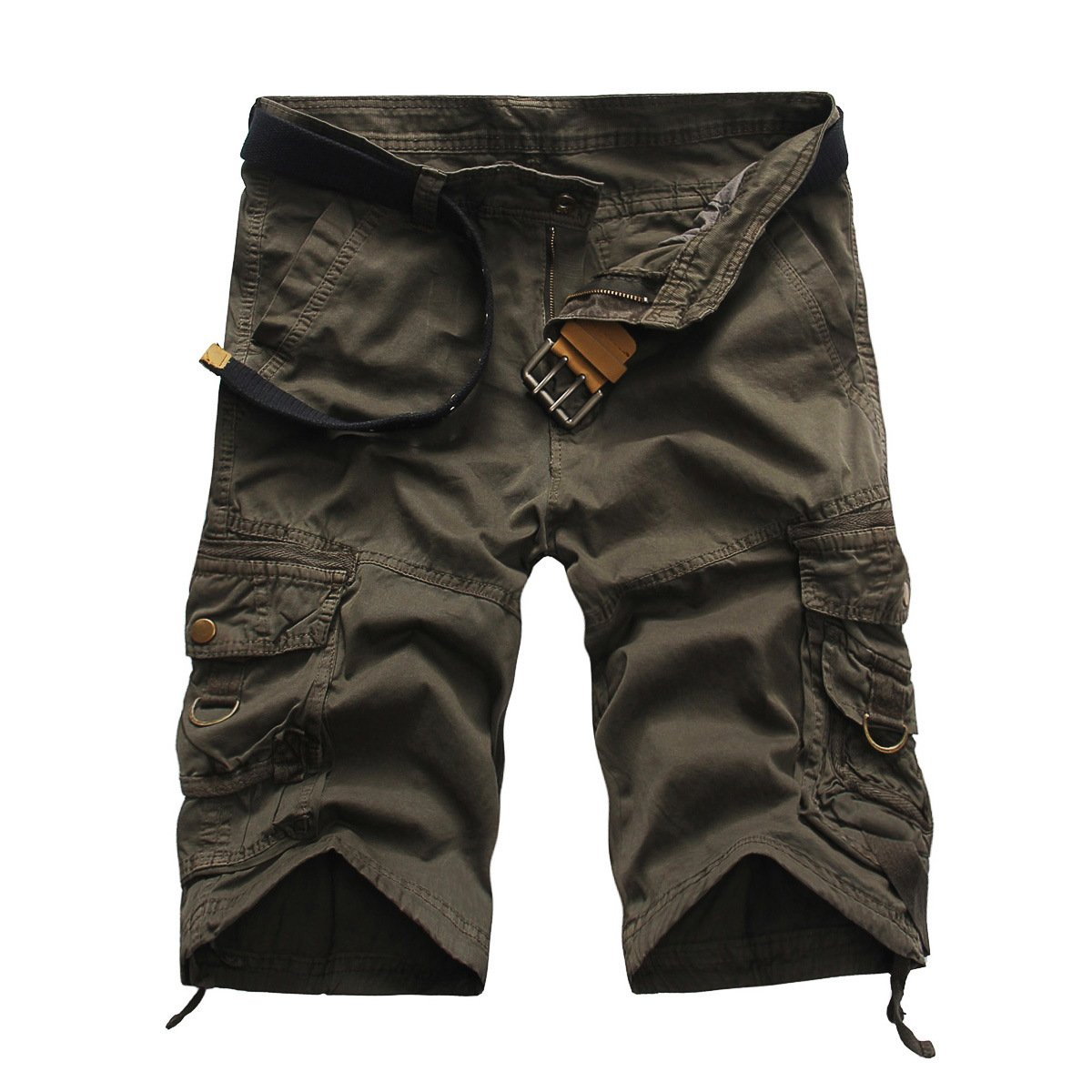 Men's Cargo Shorts Camouflage Multi Pockets Twill Fit Breathable Summer Loose Outdoor Shorts Grey-36