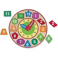 Melissa & Doug Reloj clasificador de formas (Juguete de desarrollo, construcción robusta de madera, habilidades para aprender a decir la hora)