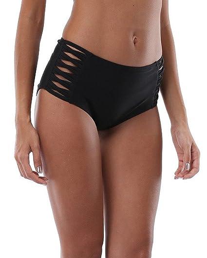 1bb7425a69 ALove Women Strappy Bikini Bottom High Waisted Tankini Bottom Black Small