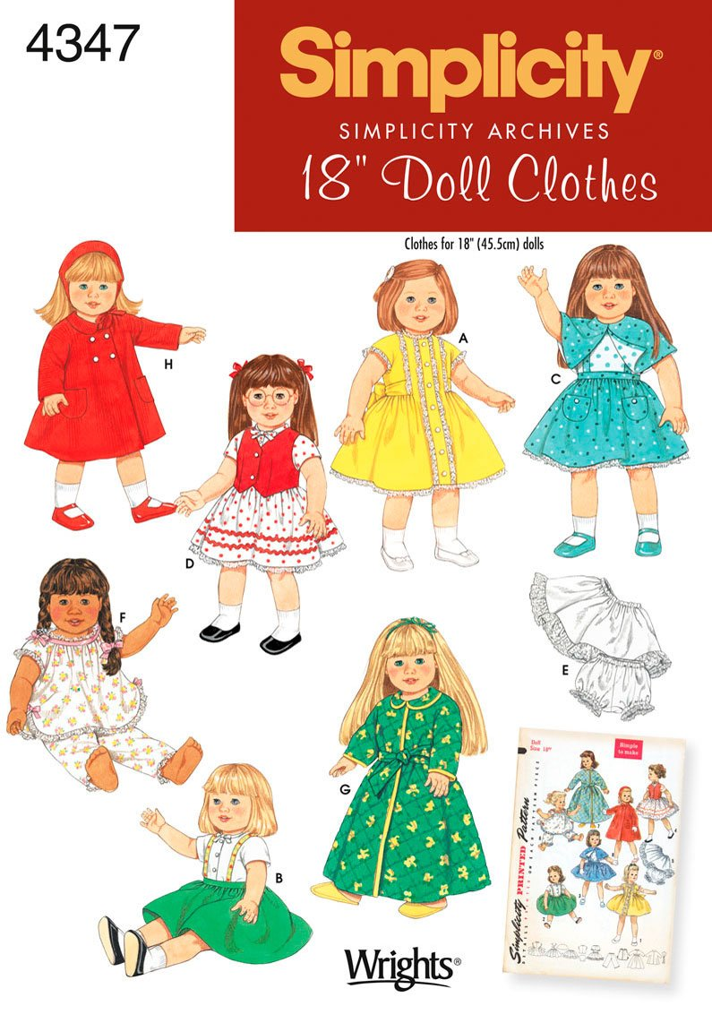 Simplicity Sewing Pattern 4347 One Size Doll Clothes