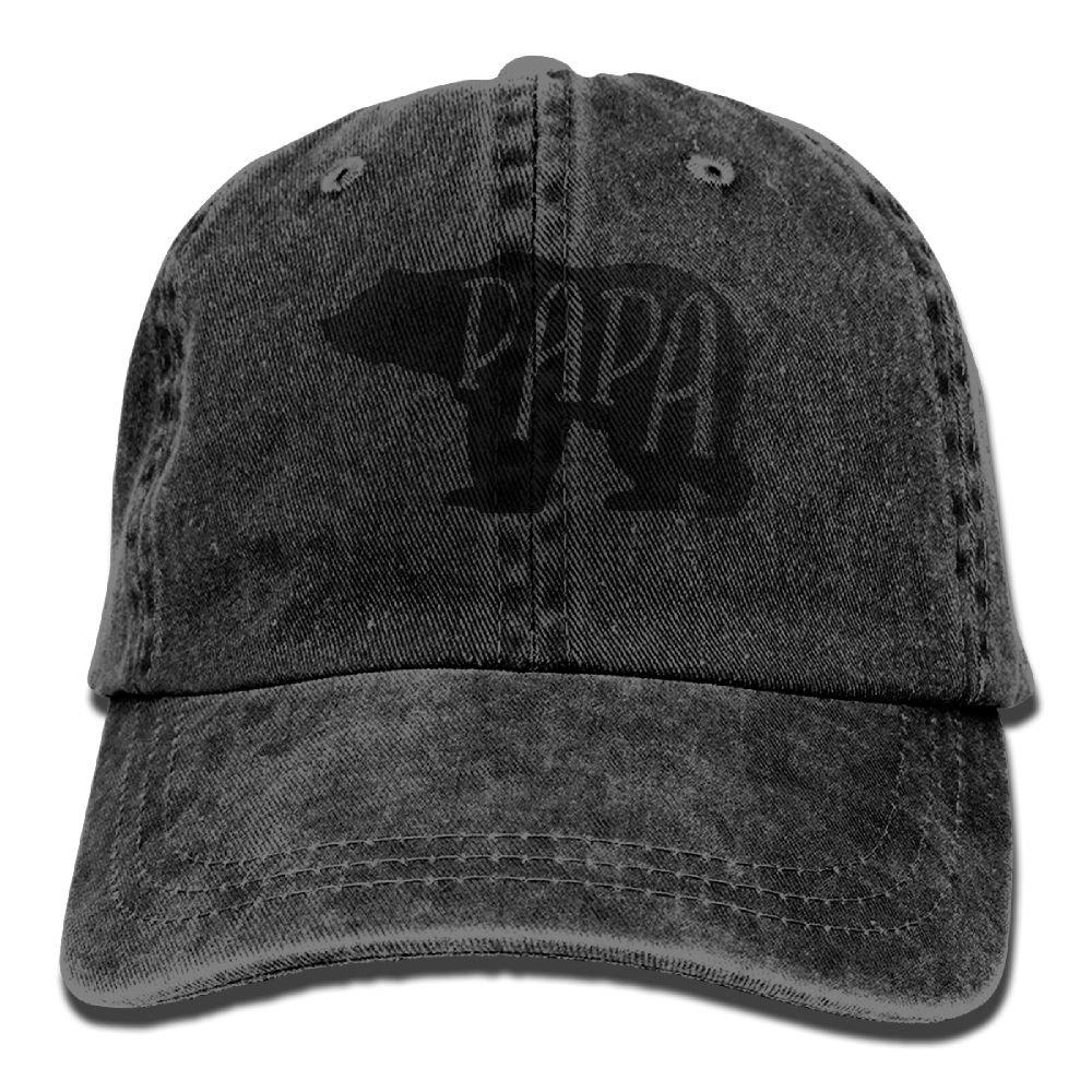 Papa Bear Adjustable Adult Cowboy Cotton Denim Hat Sunscreen Fishing Outdoors Retro Visor Cap