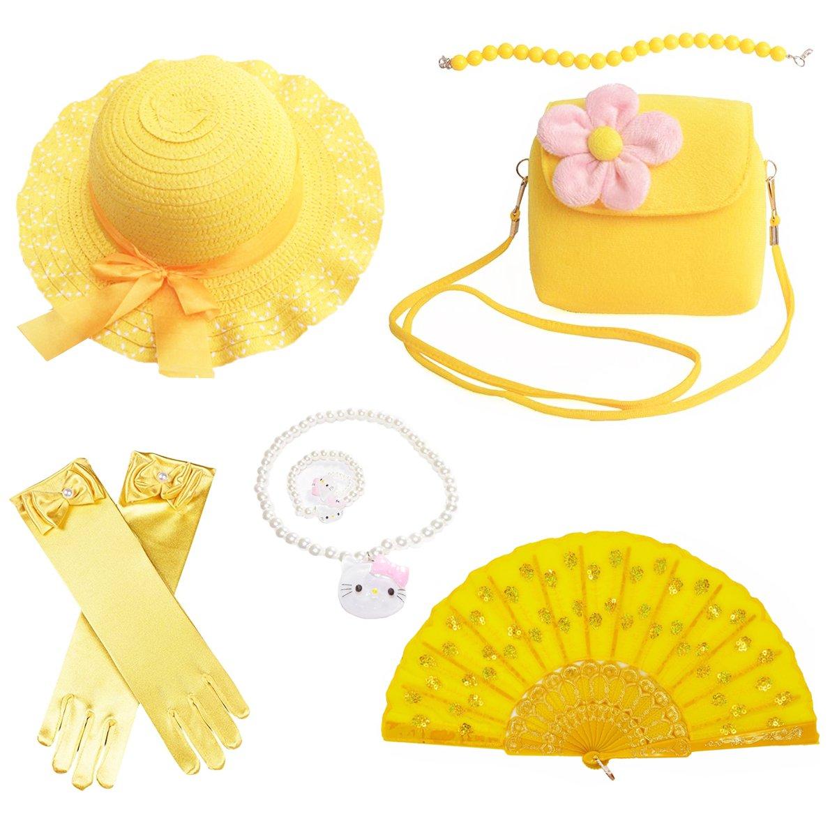Banadim Girls Party Dress Up Play Set Sun Hat,Handbag, Jewelry -Yellow