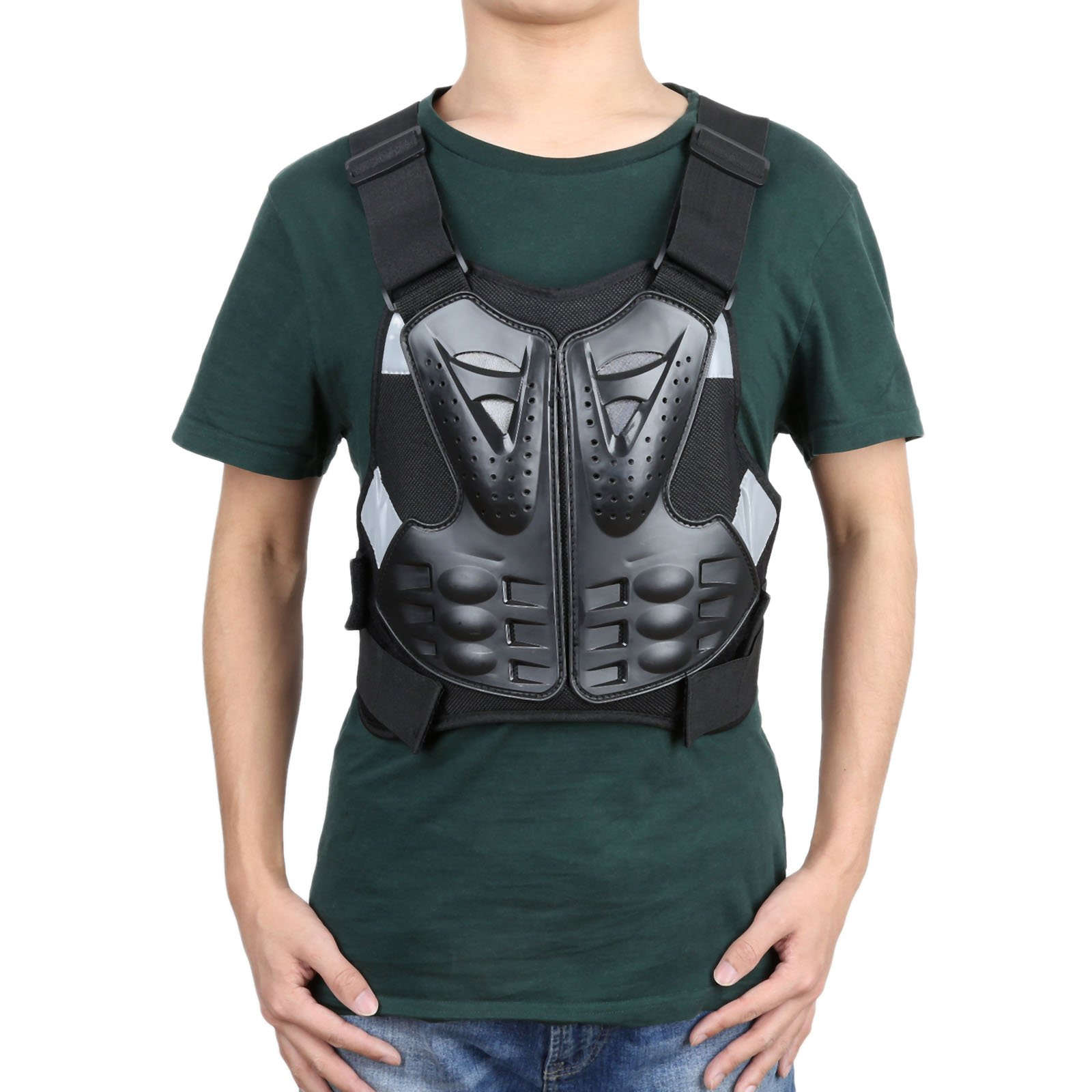 Carejoy Motorcycle Armor Vest Chest Back Spine Protector, Motocross Off-Road Racing Anti-fall Gear Body Guard