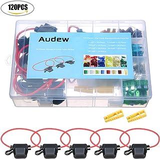 Audew 120 Pieces Blade Fuse Standard Circuit Blade+ 10 AWG Inline Blade Fuse Holder ( 5A, 7.5A, 10A, 15A, 20A, 25A, 30A )