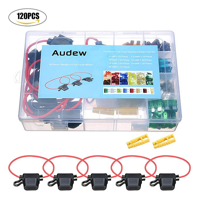 Audew 120 Pieces Blade Fuse Standard Circuit Blade+ 10 AWG Inline ...
