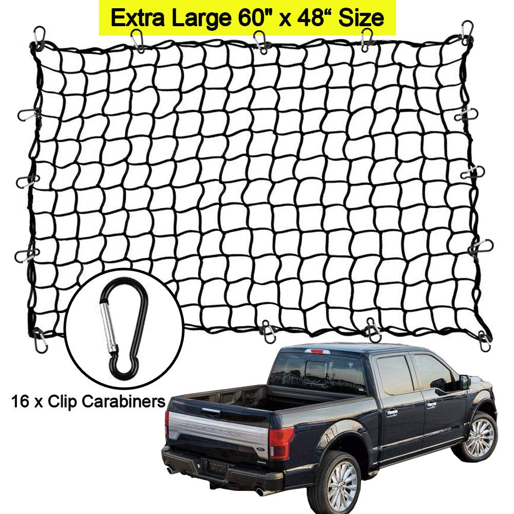 Big Ant Cargo Net Extra Large 60'x48' Bungee Cargo Net - Stretchable Heavy Duty Truck Bed Cargo Carrier Net 16 Hooks