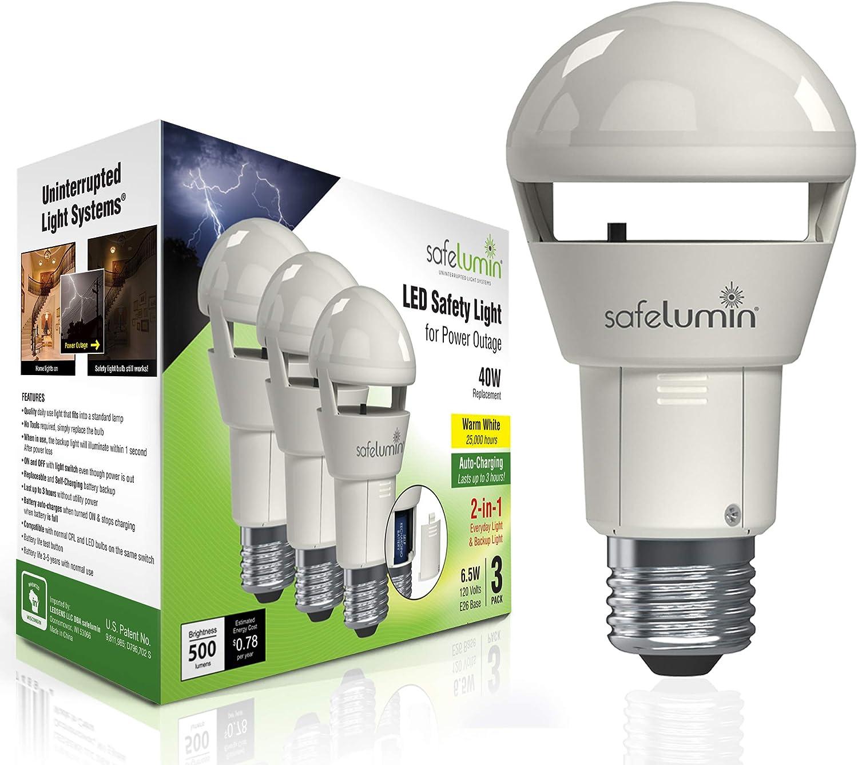 safelumin Rechargeable Light Bulbs 2700K 3PK Warm White - Emergency Lights for Home Power Failure - Works as Normal Light Bulbs & 3Hrs Battery Backup, UL AC120V E26, 40W Equivalent 500lm
