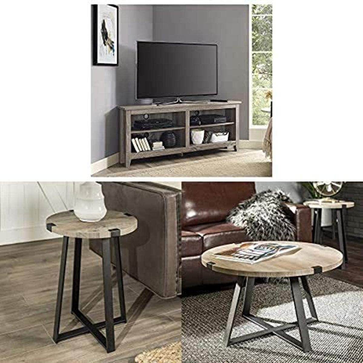 Walker Edison Furniture Company Simple Farmhouse Wood Corner Stand for TV with WE Furniture Side End Accent Table, 18 Inch and WE Furniture Coffee Accent Table, 30 Inch, Grey, Black