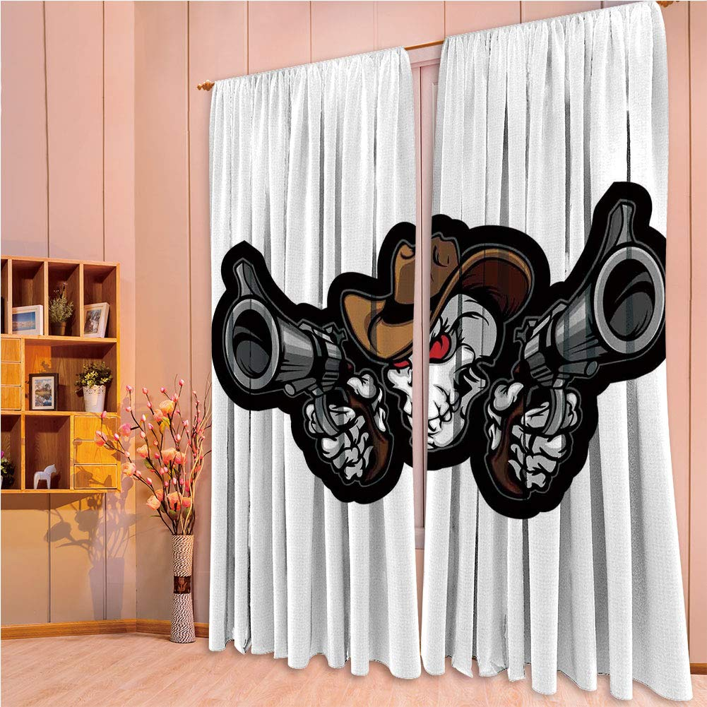 "franlinkcossosoph Polyester Window Drapes Kitchen Curtains,Skull,Skull Cowboy Targets Shooting with The Guns Wild West Scary Illustration Art Decorative,Brown White Grey,84.3"" Hx 95.3"