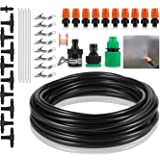 Deyard 26.2FT(8M) Outdoor Garden Watering System Irrigation Drip Kit with 10pcs Mist Nozzle Dripper for Plant Flower Greenhouse 1/4 Inch