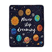 ALAZA Lovely Planets Solar System Fantastic Constellation Crystal Velvet Throw Blanket for Bed 50 x 60 inch Kids Baby Girls Colorful Painting