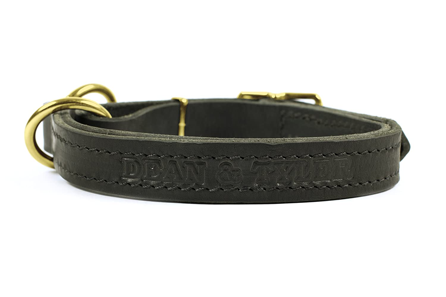 Dean and Tyler STRICTLY BUSINESS , 2-in-1 Dog Choke Collar with Solid Brass Hardware Black Size 20-Inch by 1-Inch Fits Neck 18-Inch to 20-Inch