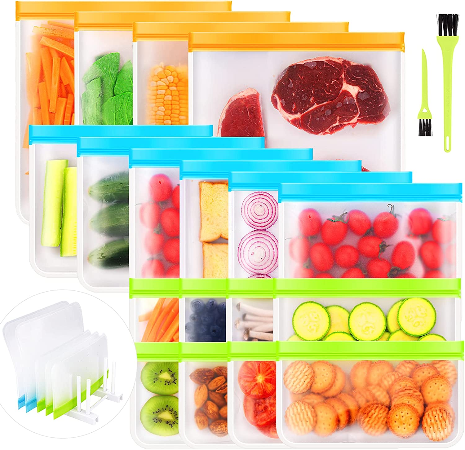 Ceephouge 18 Pack Reusable Food Storage Bags, PEVA Freezer Ziplock Bags-BPA Free, 4 Gallon Bags 6 Sandwich Bags 8 Snack Bags with Drying Rack & Cleaning Brush (Colorful, 18)