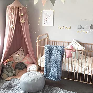 Amazon.com UniTendo Cotton Linen Farbric Pink Kids Half Black-out Canopy Princess Room Play Area Curtain 99 inch 250cm (Pink) Baby & Amazon.com: UniTendo Cotton Linen Farbric Pink Kids Half Black-out ...