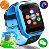 Kids Smartwatch,Smart Watches for Boys Girls with GPS Tracker SOS Anti-lost Alarm Pedometer SIM Card Slot Camera Electronic Learning Toys Birthday Gifts Travel Camping (Blue)
