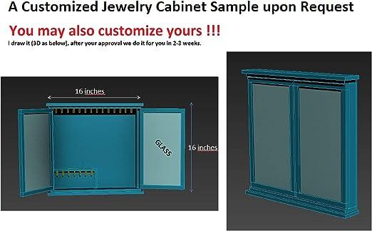 30,5 x 5 cm Juego de 3 organizadores de almacenamiento de joyas de madera para colgar collares con barra extra/íble y 26 ganchos para joyas Lawei relojes de sol carteras
