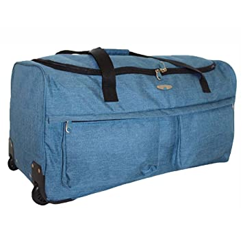 ca7e98eaf495 Travel Holdall Suitcase Luggage Heavy Duty Duffle Bag Zip Up Front Pockets  Wheelie Trolley Telescopic Handle