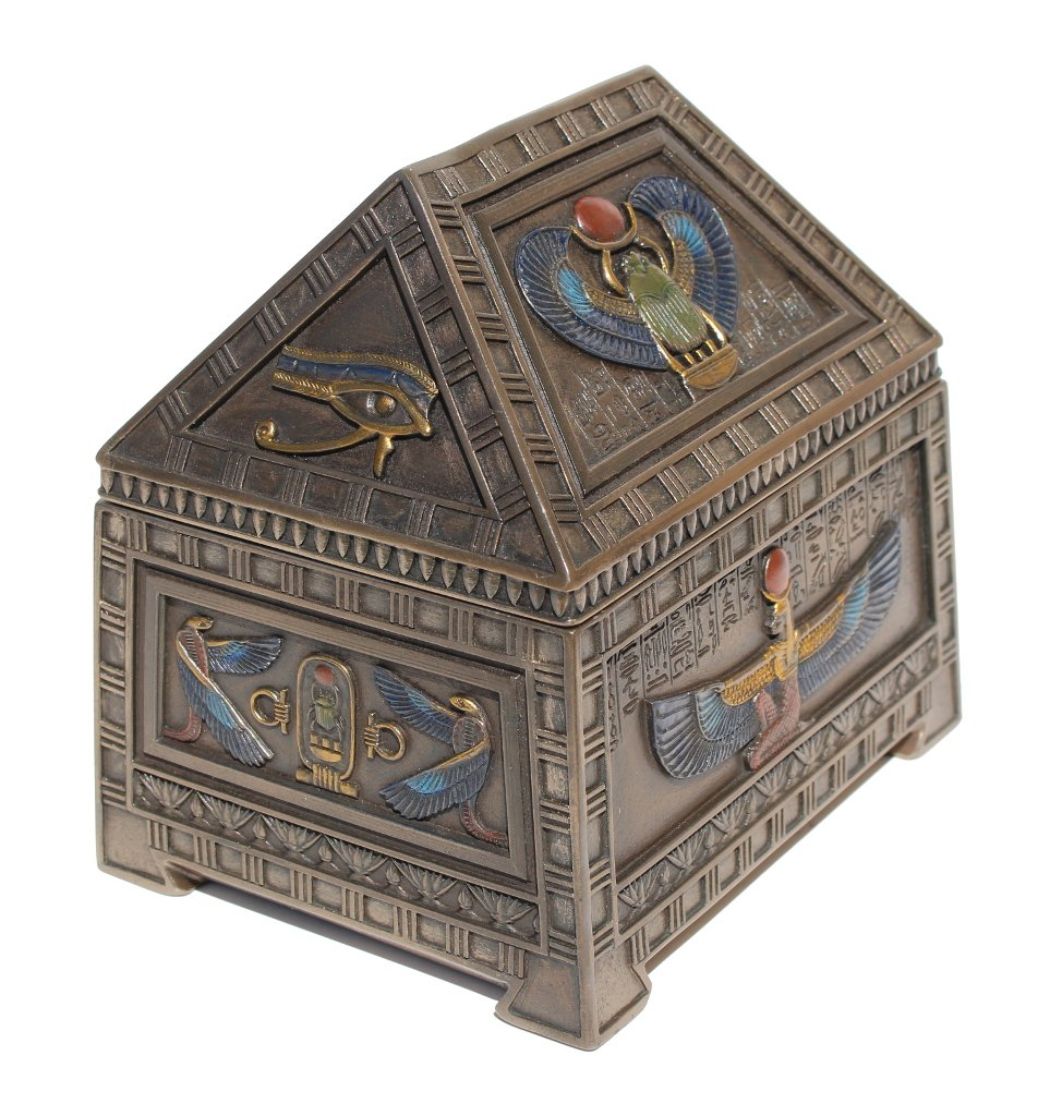 Egyptian Heart Scarab and Isis Trinket Box Cold Cast Bronze 5 1//8 Inch Long Masada Goods