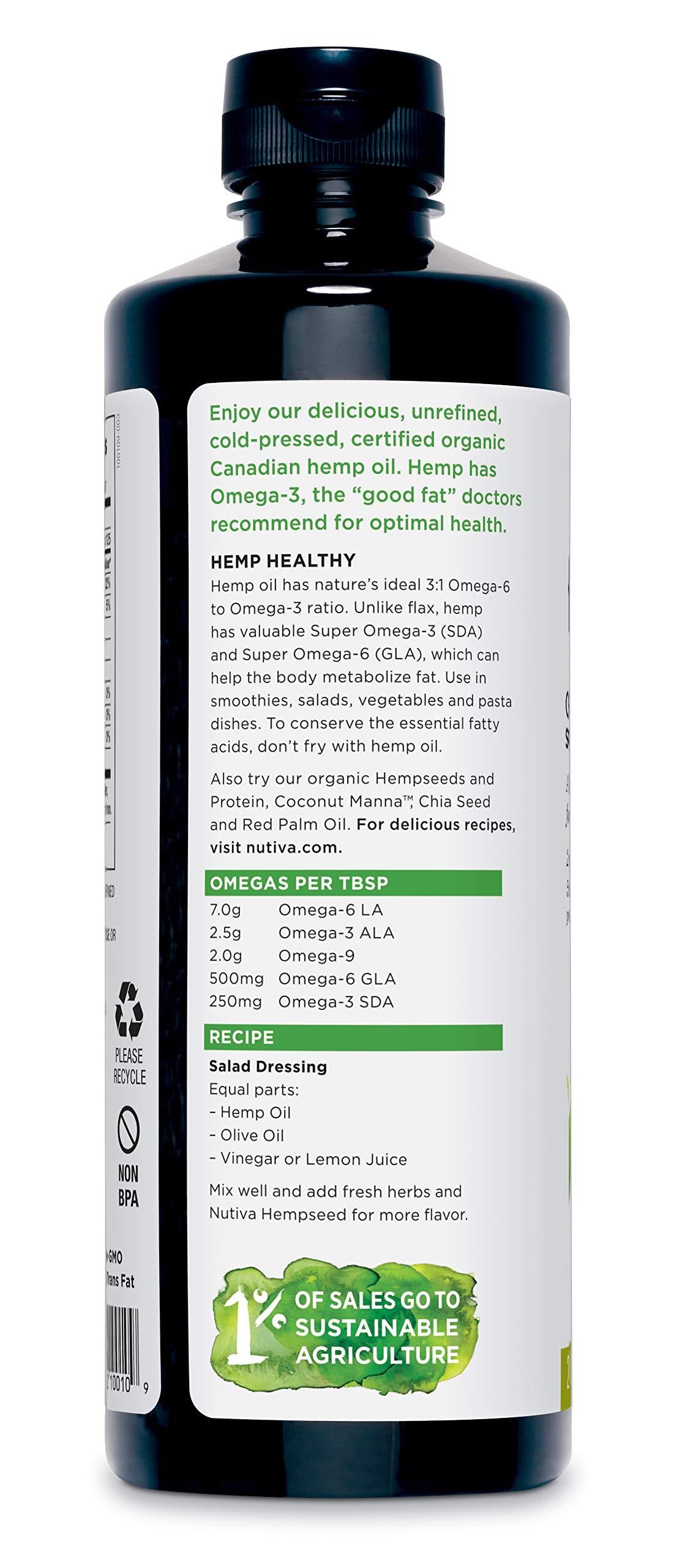 Nutiva Organic Cold-Pressed Unrefined Hemp Oil, 24 Ounce
