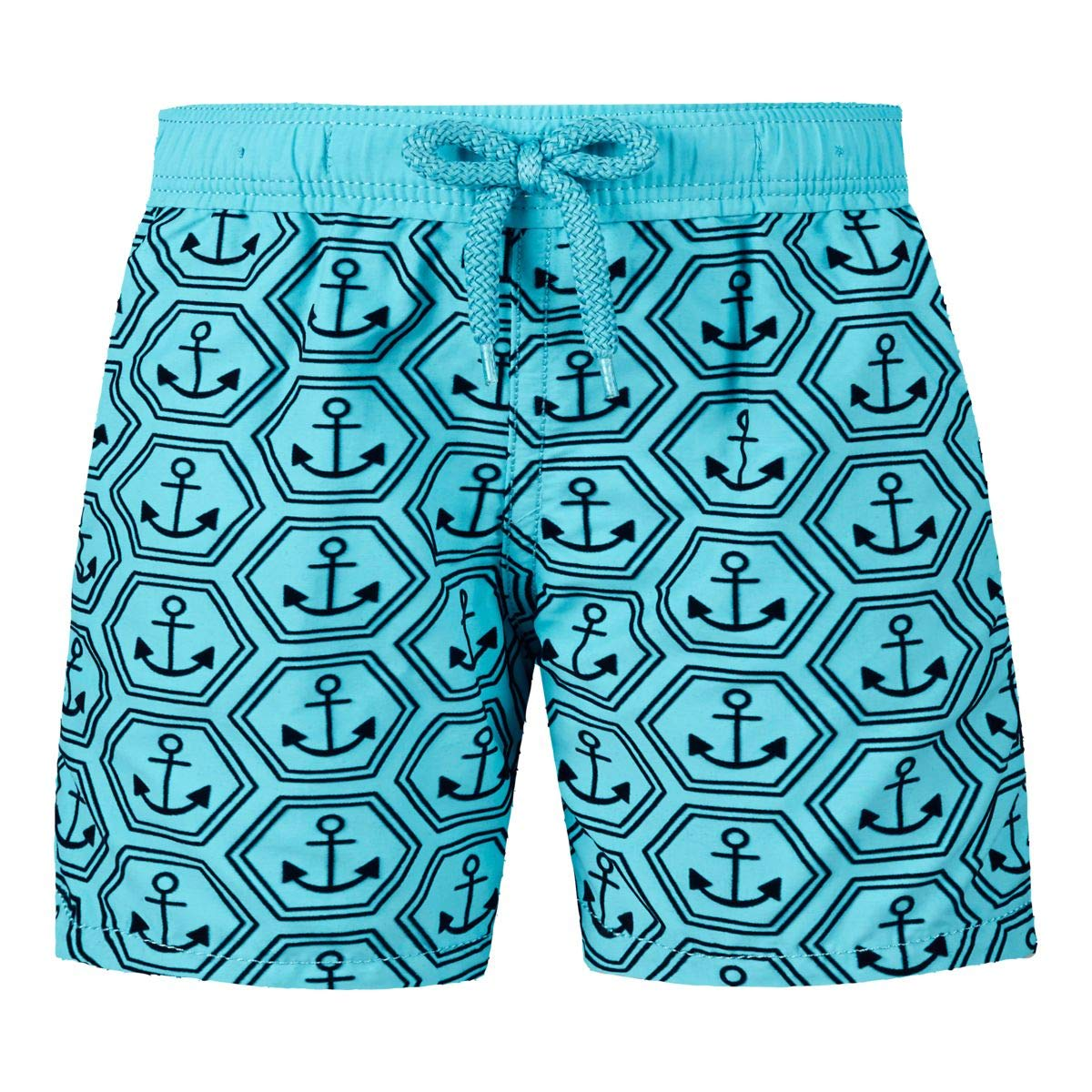 Vilebrequin - Boys Swimtrunks Flocked Ancre De Chine - Tropezian Blue - 2YRS