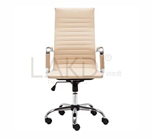 LAKDI-The furniture Co. PU Leather High Back Chair with Swivel (Cream)