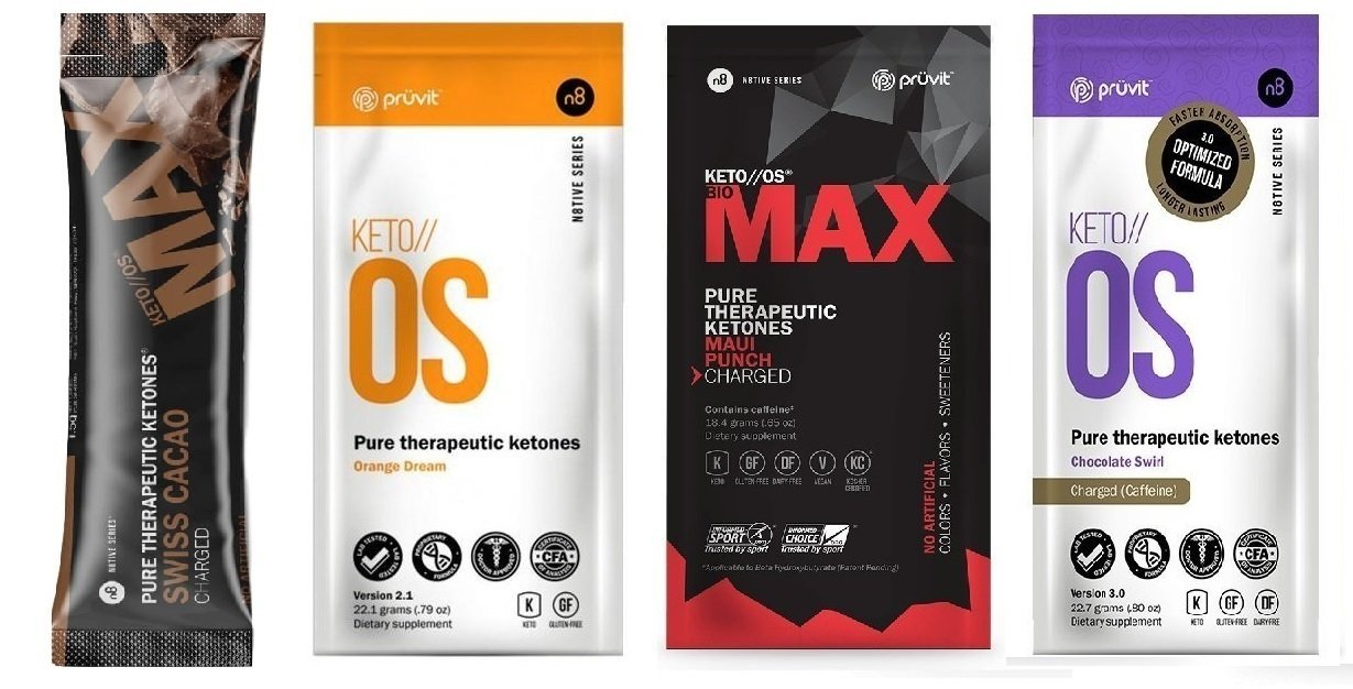 Pruvit Keto//os Charged Ketones 4 Pack Variety Bundle of MAX Maui Punch, MAX Swiss Cacao, Chocolate Swirl,Orange Dream, guaranteed Ketosis and great for Keto Diet and Lifestyl4