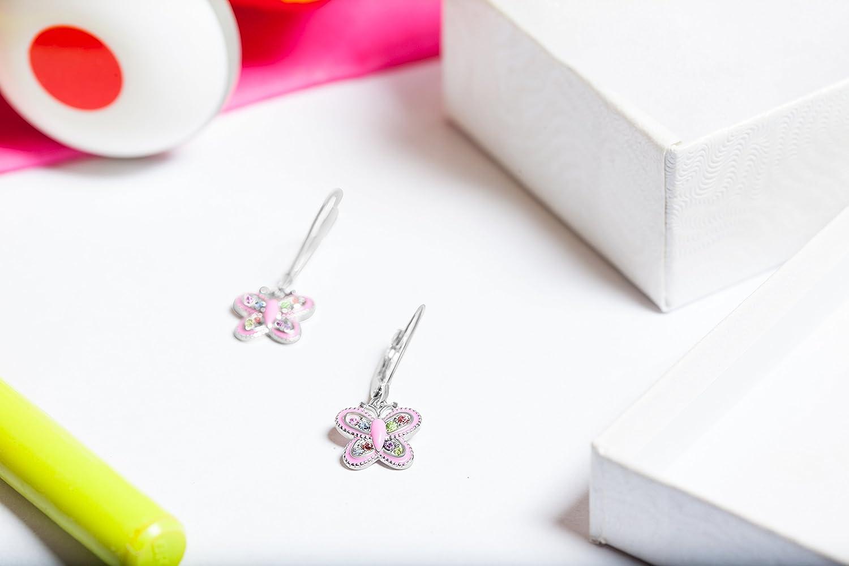 Premium 9MM Pink Enamel Crystal Butterfly Earrings