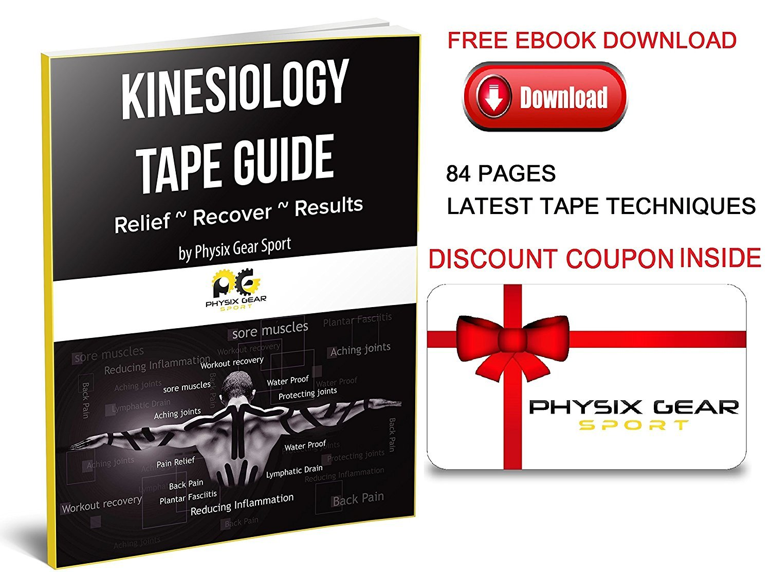 Physix Gear Sport Kinesiology Tape - Free Illustrated E-Guide - 16ft Uncut Roll - Best Pain Relief Adhesive for Muscles, Shin Splints Knee & Shoulder - 24/7 Waterproof Therapeutic Aid (2PK PNK) by Physix Gear Sport (Image #10)