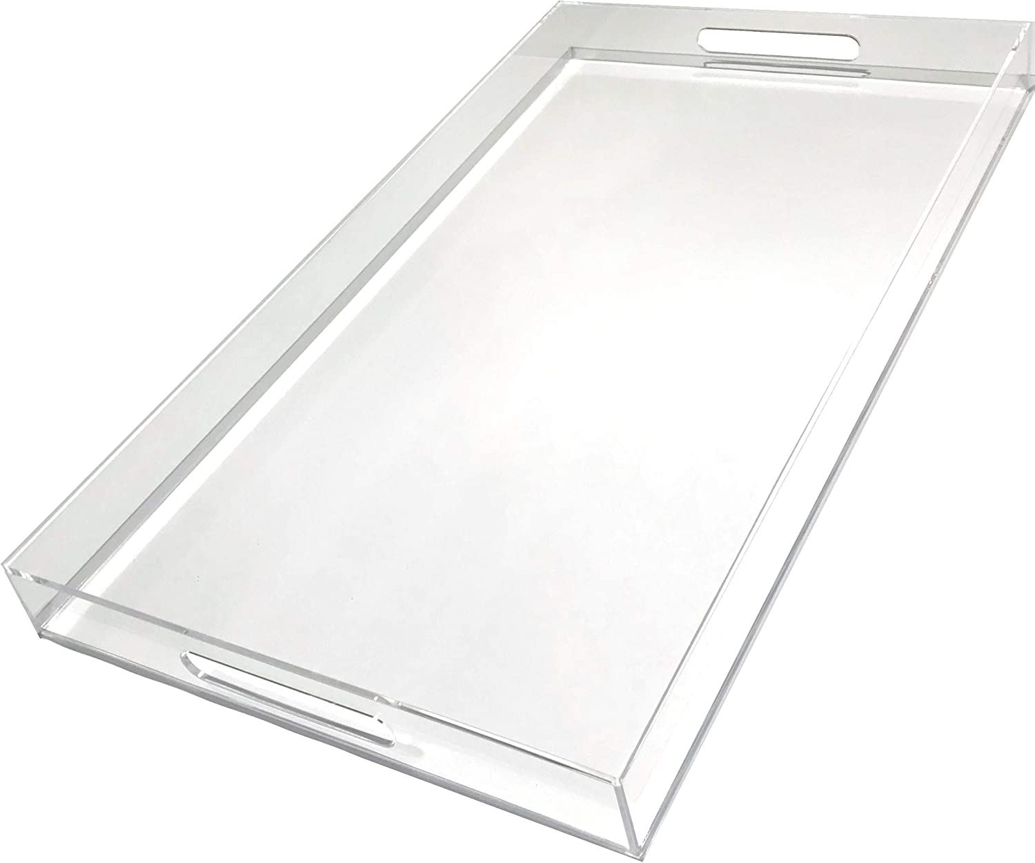 "Clear Serving Tray - Extra Large 14"" x 24.5"" - Modern Acrylic Spill-Proof Butler Tray for Serving, Eating Breakfast, Dessert, Appetizer, Picnic, Home Bar, Partys, Living Room Organizing"