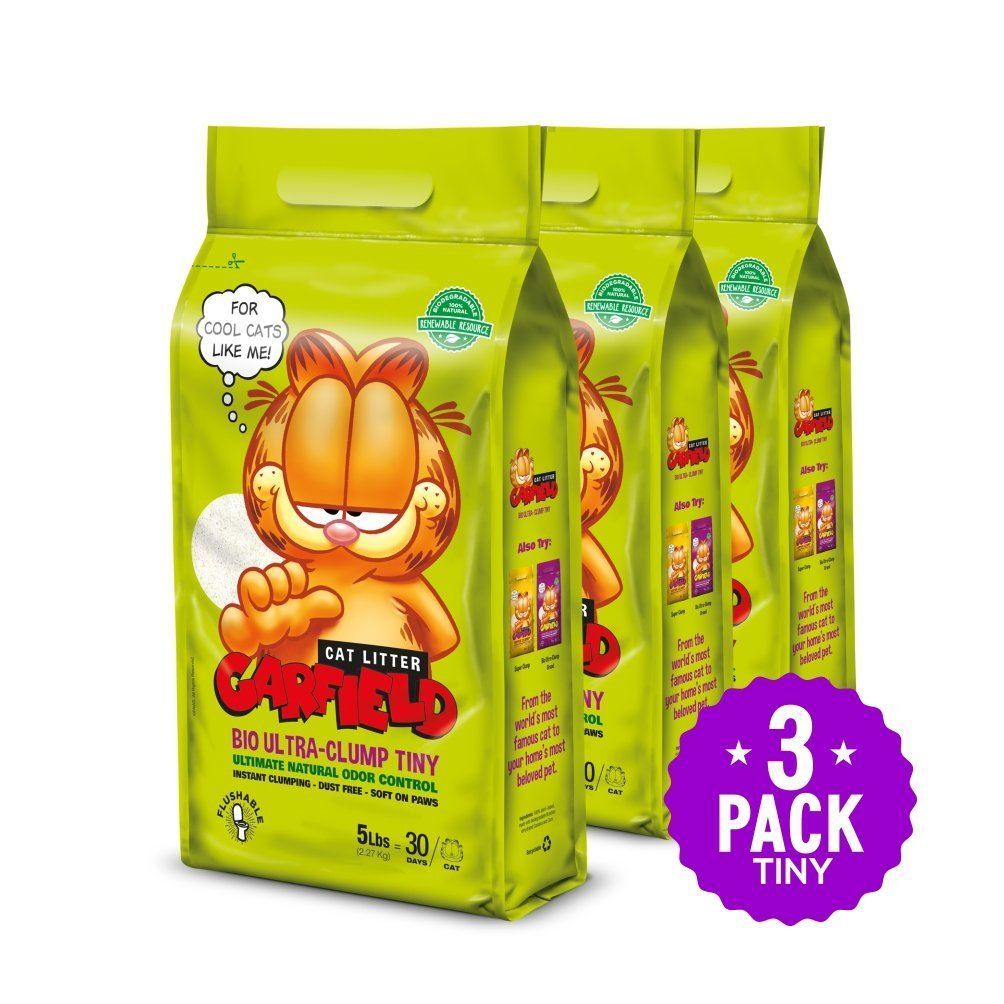 Garfield Cat Litter All Natural, Fast clumping, Purrfect Multi-cat Homes | DUST Free, Chemical Free, Clay Free | Biodegradable & Flushable. Tiny Grains, 15 lbs.