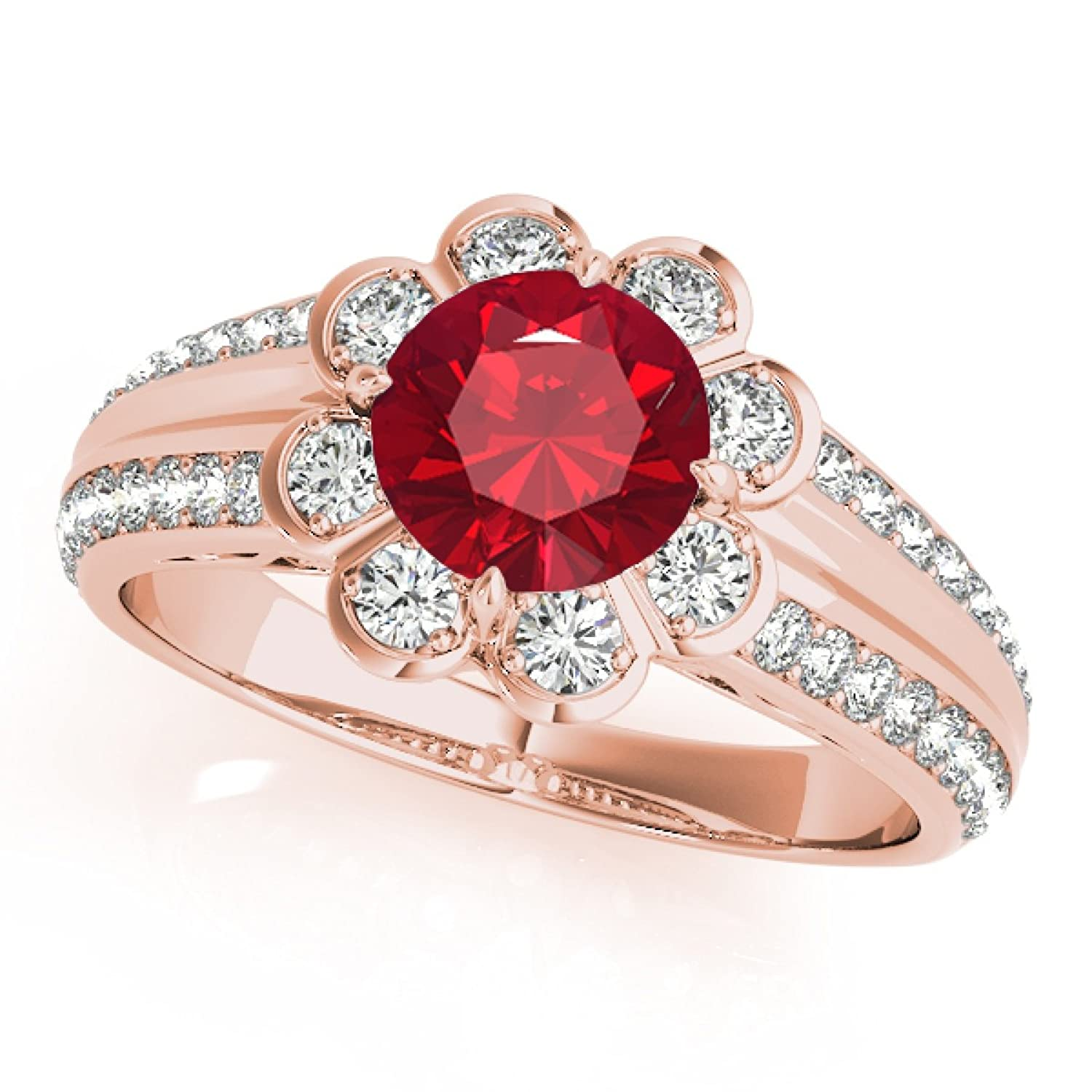 1.25 Ct. Halo Created Ruby And Diamond Engagement Ring In 14k Solid Rose Gold
