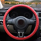 ZATOOTO Silicone Car Steering Wheel Covers - Red Nonslip 3D Massage Hands 13 Inch - 16.5 Inch for Women Men Better Grip