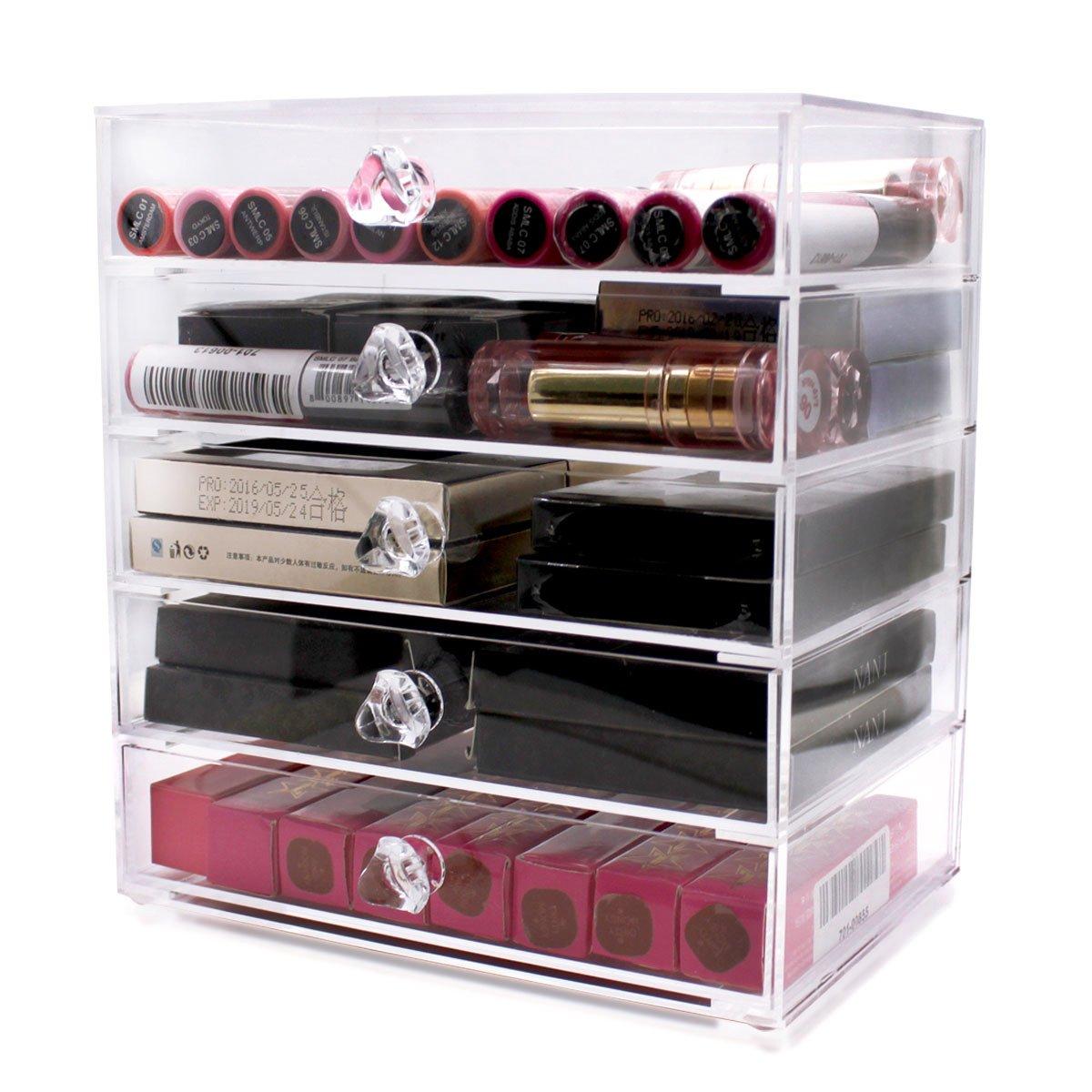 Hqdeal, organizer per cosmetici, con cassetti, in plastica trasparente, extra large