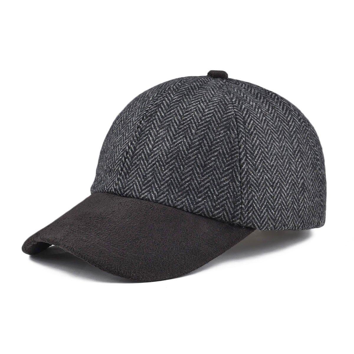 41dd87b9 Product description. VOBOOM Men's Wool Blend Baseball Cap Herringbone Tweed  Ball Cap Check Woolen Adjustable Peaked Cap