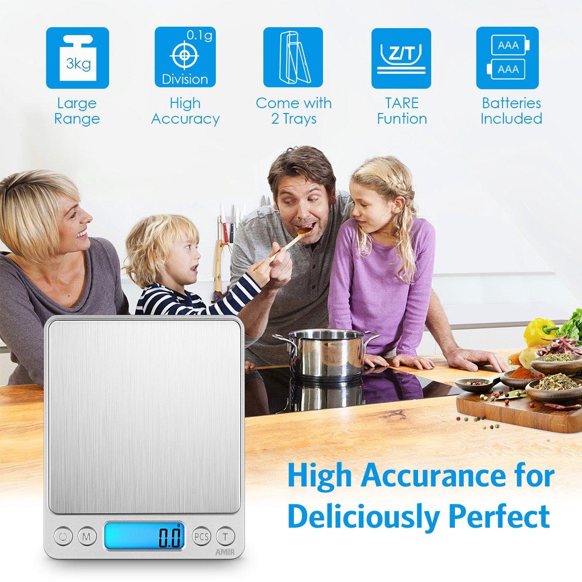 AMIR Bilancia da Cucina Digitale Grande per Misurare Ingredienti 3kg x 0.1g Bilancia Digitale Gioielli Bilancia da Lettera ad Alta Precisione con Funzione di Tara Oro Funzione di Conteggio Pezzi