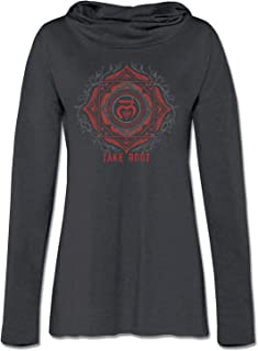 product image for Soul Flower Take Root Chakra Organic Cotton Recycled Women's Cowl Neck Yoga Hoodie, Black Ladies Graphic Long Sleeve Tunic