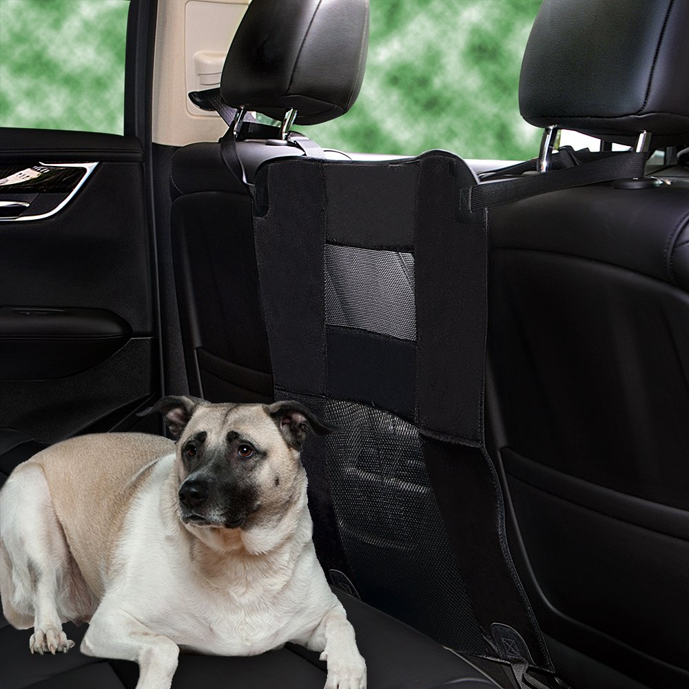 """Wellbro Dog Car Backseat Barrier, Padded and Adjustable Nylon Pet Barrier, Vehicle Dog Fence with 2 Mesh Windows, For Safe Driving, L24"""" x W24"""" by Wellbro (Image #7)"""