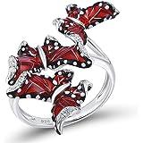 Santuzza 925 Silver Red Butterflies Handmade Enamel Ring Cubic Zirconia