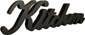 CVHOMEDECO. Rustic Matt Black Wooden Words Sign Free Standing Kitchen Desk/Table/Shelf/Door/Home Wall Decoration Art, 15-1/2 x 4-1/4 x 1 Inch