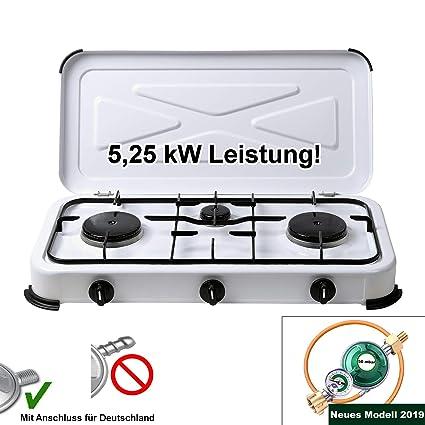 CAGO Campingkocher Gaskocher 3 flammig 50mbar Gasherd mit Gasschlauch und Gasregler mit Manometer Gas F/üllstandsanzeige und Schlauchbruchsicherung 2 4
