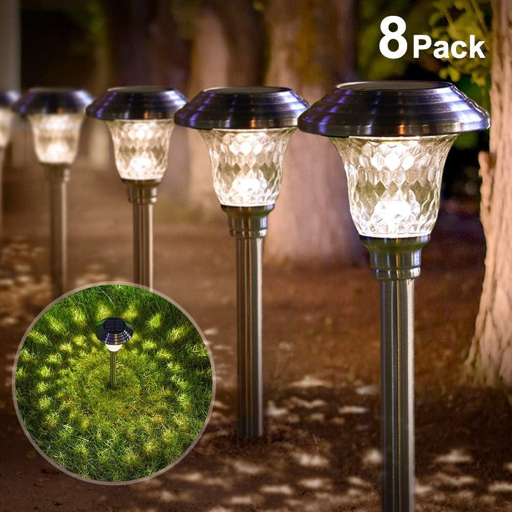 BEAU JARDIN 8 Pack Luces Solares Jardín Iluminación al Aire Libre de Caminos Acero Inoxidable Vidrio LED de Luz de Jardín IP65 Resistente al Agua Patio [Clase de eficiencia energética A] 11.9x41,9cm: