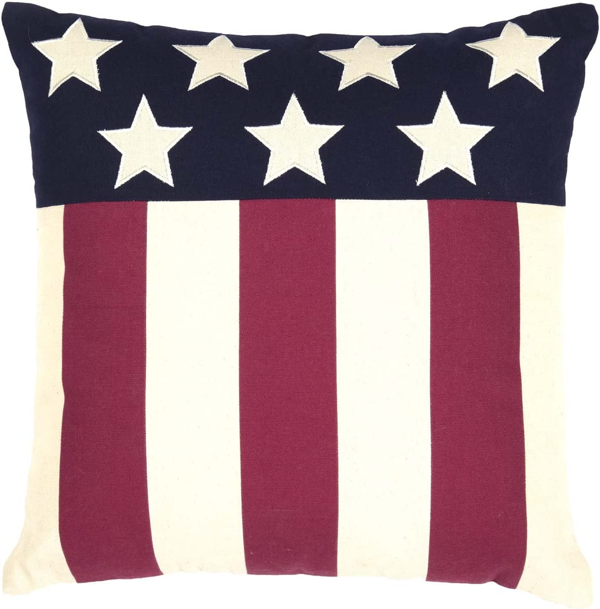 VHC Brands Seasonal Americana Pillows Throws – Modern American Flag Red 18 x 18 Pillow